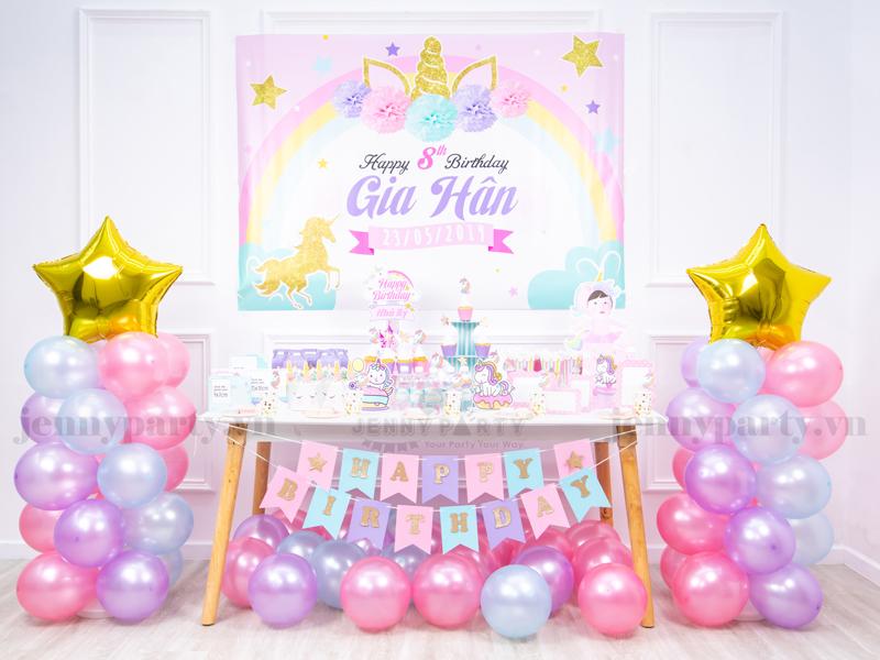 Party Kit - Set Trang Trí Bàn Tiệc Sinh Nhật Hot Hit Nhà Jenny Party